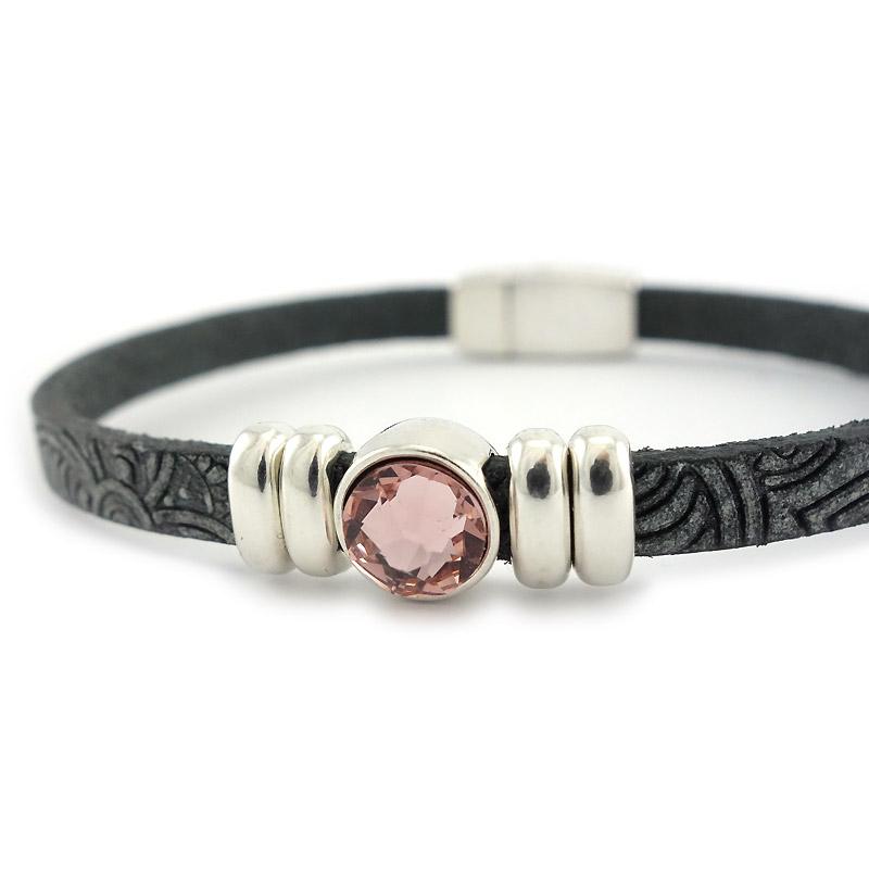 Leren armband mandala puntsteen roze detail