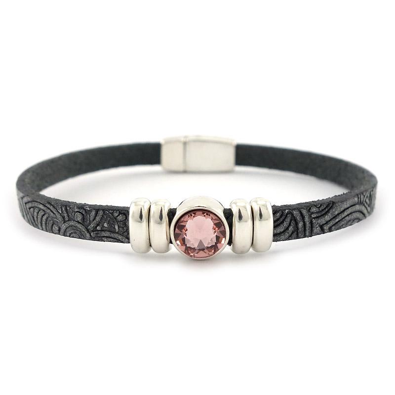 Leren armband mandala puntsteen roze