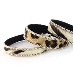 Leren armbanden met dierenprints en swarovski