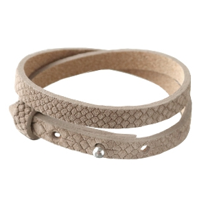 Smalle armband reptile natural brown dubbel