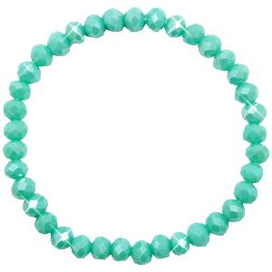 Facetarmband kleur turquoise green 6mm