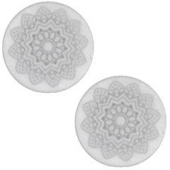 Slider zilver kleur mandala white grey vlak 20mm