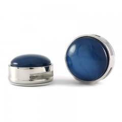 Slider zilver cabochon pearl shine night blue
