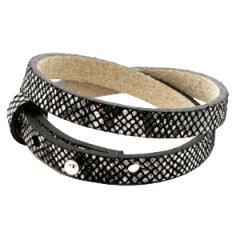 Smalle-armband-kleur-snake-black-dubbel