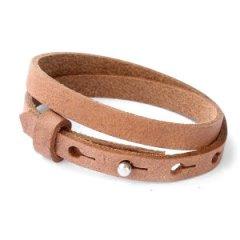 Smalle armband auburn brown dubbel