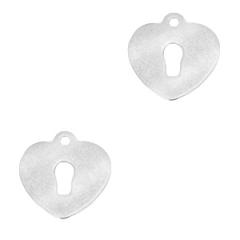 Bedel vorm hart sleutelgat zilverkleurig RVS