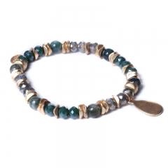 Biba bead armband kleur groen goud kralen 6mm