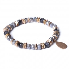 Biba bead armband kleur grijs goud kralen 6mm