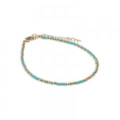 Biba bead armband kleur turquoise gold kralen 2mm