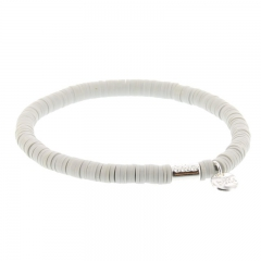 Biba clay armband kleur light grey kralen 6mm