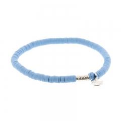 Biba clay armband kleur mid blue kralen 4mm