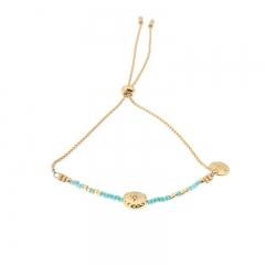 Biba armband slider sluiting ster kraal en miyuki kralen 2mm kleur groen goud