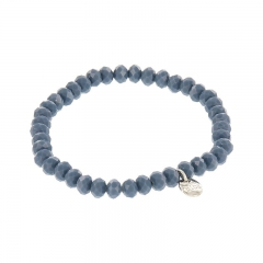 Biba facet armband kleur dark cloud blue kralen 6mm