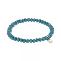 Biba facet armband kleur petrol blue kralen 6mm