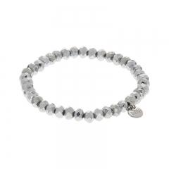 Biba facet armband kleur shiny silver 6mm