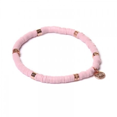 Biba clay armband kleur light pink rose kralen 4mm