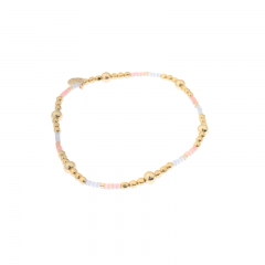 Biba miyu armband bal kleuren goud roze blauw kralen 2mm