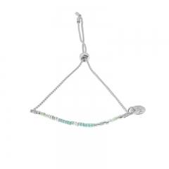 Biba armband met slider sluiting kleur turquoise zilver kralen 2mm