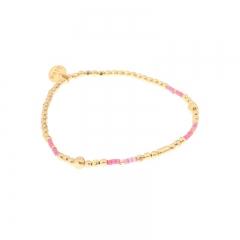Biba armband met goud en roze kralen maat 2mm