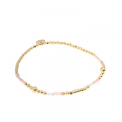 Biba miyu armband kleuren blauw roze goud kralen 2mm