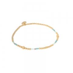 Biba miyu armband kleuren mat goud zeegroen kralen 2mm