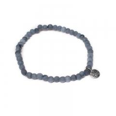 Biba natuurstenen armband kleur blue grey kralen 4mm