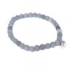 Biba natuurstenen armband kleur blue grey kralen 6mm