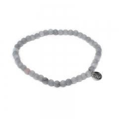 Biba natuurstenen armband kleur concrete grey kralen 4mm