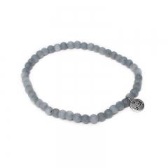 Biba natuurstenen armband kleur mid grey kralen 4mm