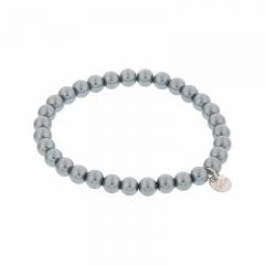 Biba pearl armband kleur blue grey 6mm