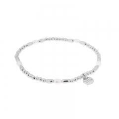 Biba pearl armband kleur zilver wit kralen 3mm