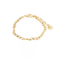 Biba armband met verlengketting vorm cirkel en ton kleur goud maat 16 tot en met 18 cm