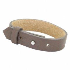Brede leren armband kleur dip greige brown