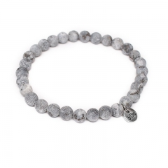 Biba natuurstenen armband kleur white grey kralen 6mm