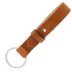 Leren sleutelhanger kleur saddle brown