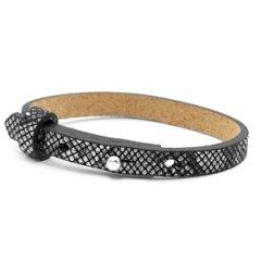 smalle leren armband kleur snake white black