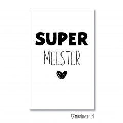 minikaart met tekst super meester