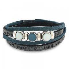 Leren armband smile-love-dream blue