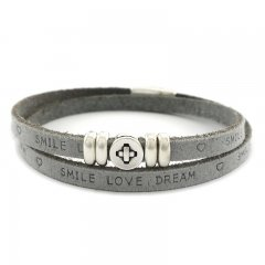Leren armband smile-love-dream grey