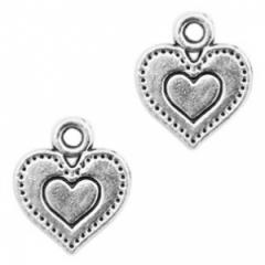 Bedel antique zilver vorm hart in hart
