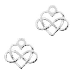 Bedel kleur zilver vorm hart met infinity teken