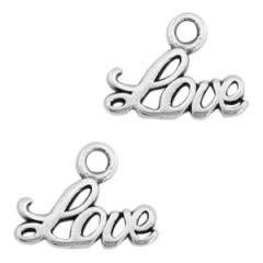 Bedel kleur zilver met tekst Love