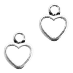 Bedel kleur zilver vorm hart met opening