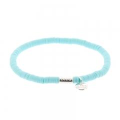 Biba clay armband kleur aqua kralen 4mm