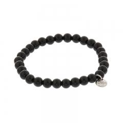 Biba jade armband kleur black antracite kralen 6mm
