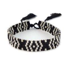 biba kralenarmband smal zwart wit