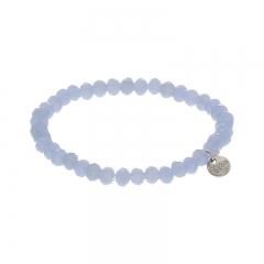Biba facet armband kleur lightly blue kralen 6mm