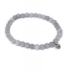 Biba natuurstenen armband kleur concrete grey kralen 6mm