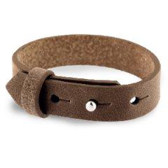 Brede leren armband kleur alcazar brown