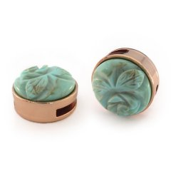 Slider rose met cabochon carved rose Turquoise groen